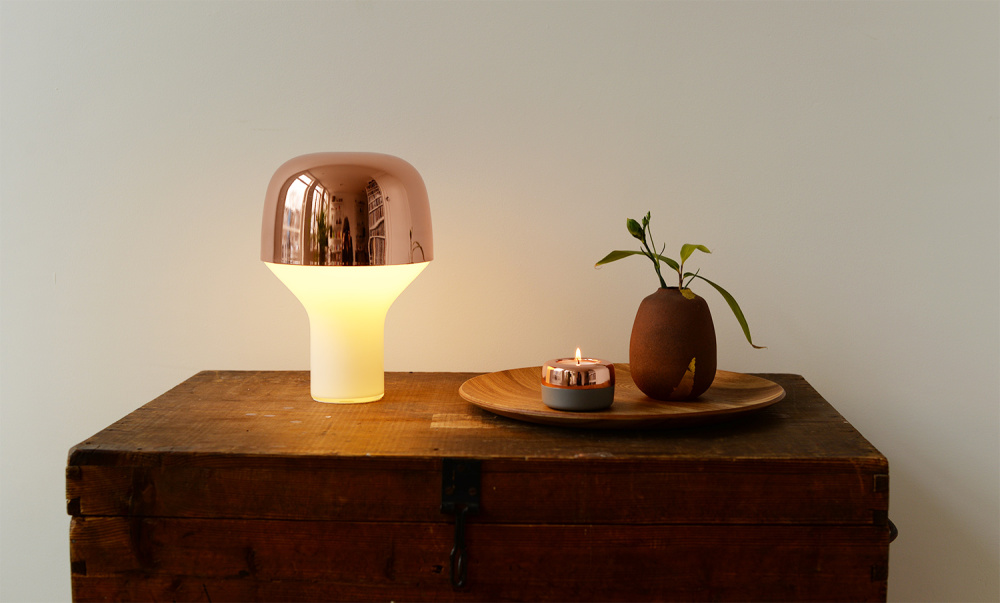 Cap Table Lamp and Duo Candle Holder
