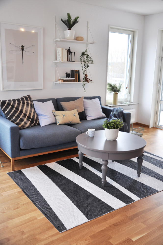 Åre Striped Rug Monochrome 100x70 By Sofie Sjöström Clippings