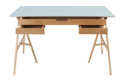 Plan Desk Blue Top, Oak Drawers