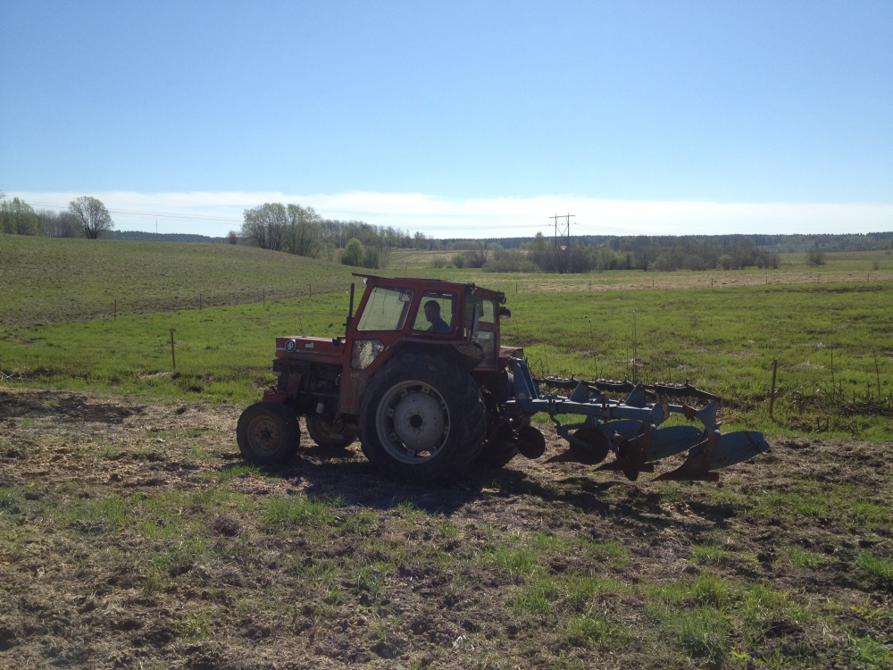 Plowing the filed for our flaxseeds