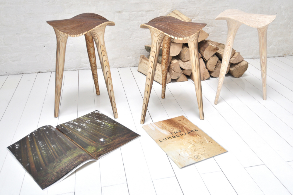 The Sadl Stools can be left raw or sanded smooth