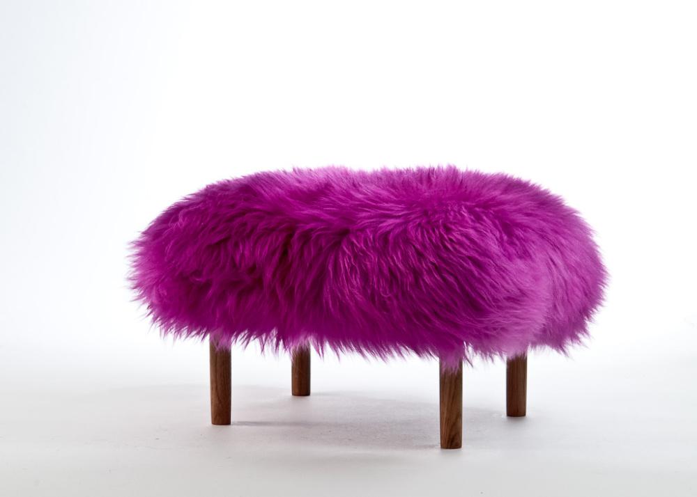 Bronwen Sheepskin Footstool Cerise