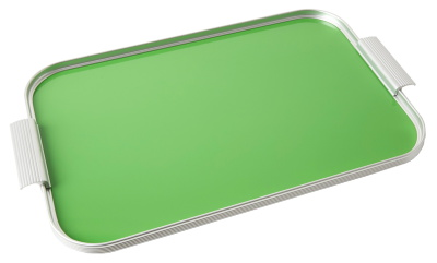 Ribbed Tray Silver and Summer Green, 18 Inch