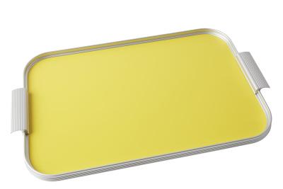 Ribbed Tray Silver and Lemon Yellow, 18 Inch