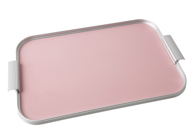 Ribbed Tray Silver and Rose Pink, 18 Inch
