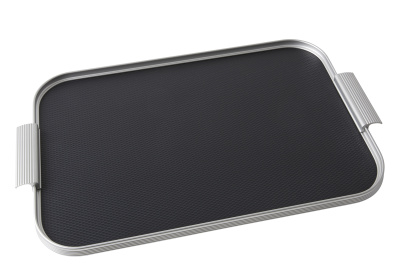 Ribbed Tray Silver and Black, 18 Inch