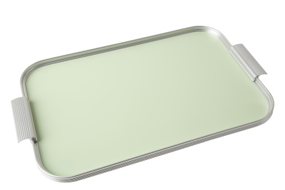 Ribbed Tray Silver and Mellow Green, 18 Inch