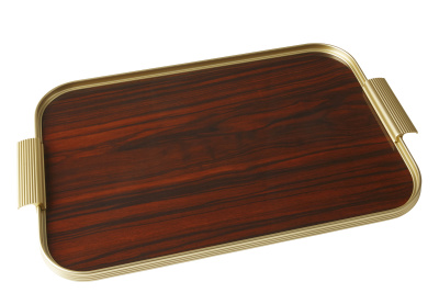 Ribbed Tray Gold and Rosewood, 18 Inch