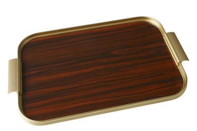Ribbed Tray Gold and Rosewood, 16 Inch