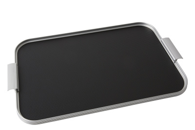 Ribbed Tray Silver and Black, 20 Inch