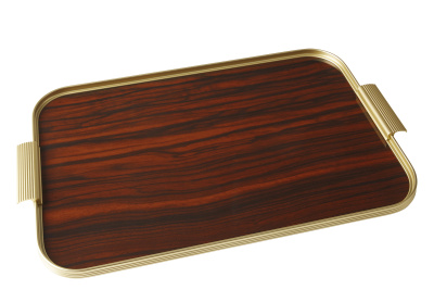 Ribbed Tray Gold and Rosewood, 20 Inch