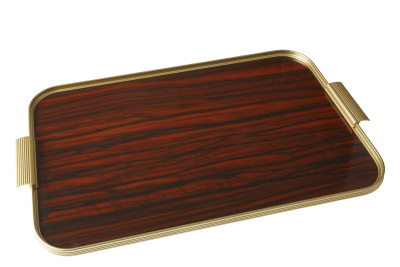Ribbed Tray Gold and Rosewood, 22 Inch
