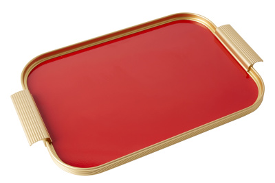 Ribbed Tray Gold and Red, 16 Inch