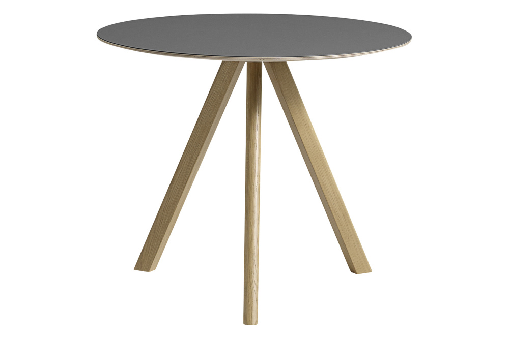copenhague linoleum top round dining table cph20 clear lacquered oak base grey top small by hay. Black Bedroom Furniture Sets. Home Design Ideas