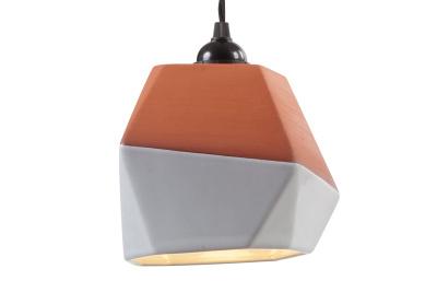 Geometric Terracotta Pendant Shade (half-glazed)
