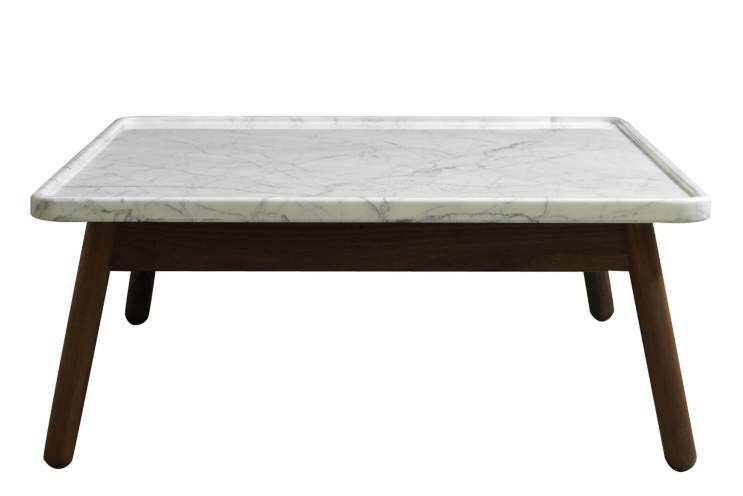 Carve square coffee table walnut base white top 60 x 60 for Coffee table 60 x 60