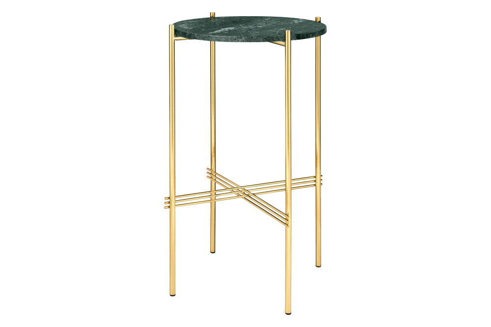 TS Round Console Table with Marble Top Green Top and Brass Frame