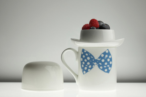 Blow bow tie mug and white sugar bowl!
