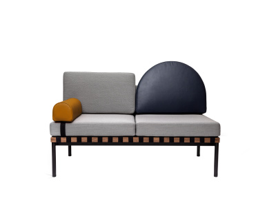 Grid Round Back 2 Seater Sofa With Armrest Steelcut Trio 2 144, Dark blue leather, Mustard leather