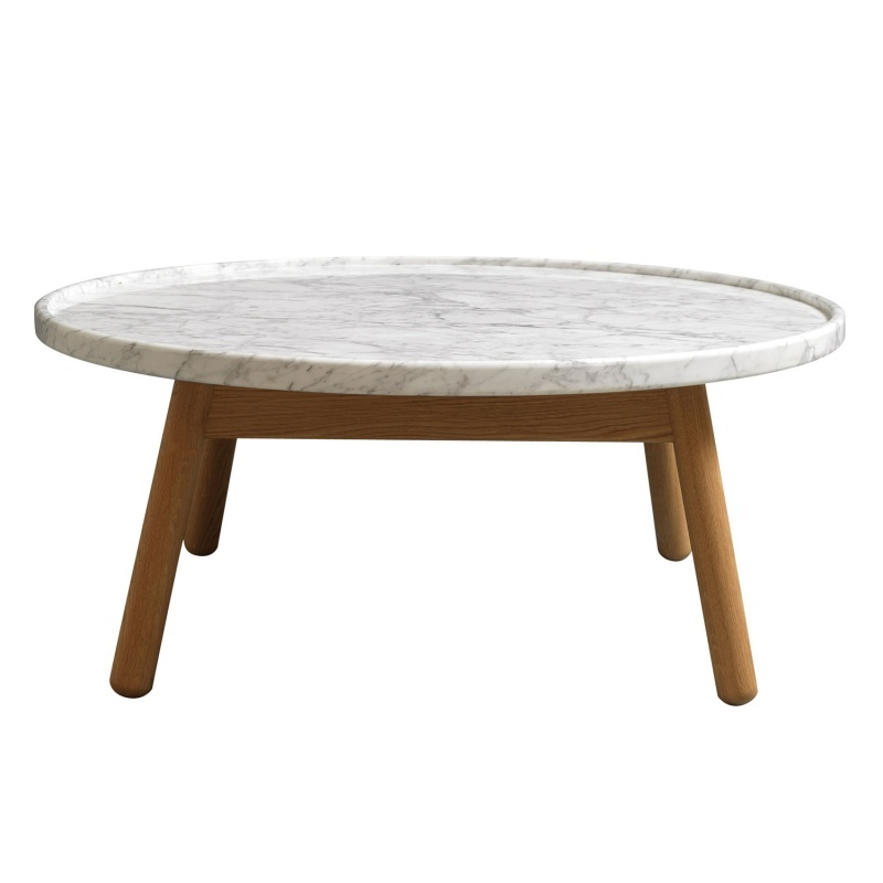 carve coffee table round oak base white marble top by