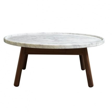 Carve side table oak base white marble top by bethan gray White marble coffee table