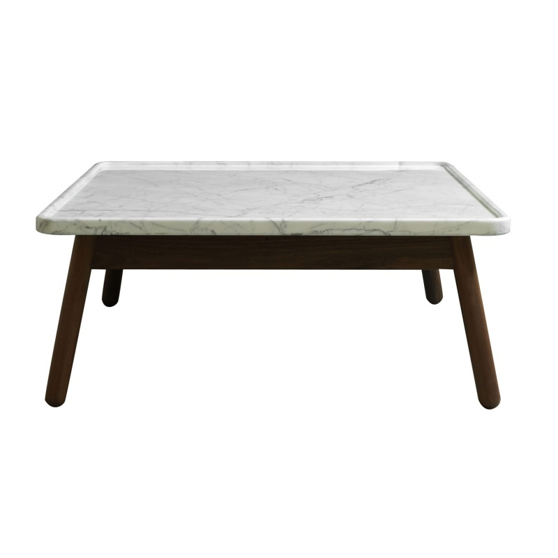 White Marble Top Coffee Table Rectangle: Carve Coffee Table Square, 60 X 60 Cm (Walnut Base & White