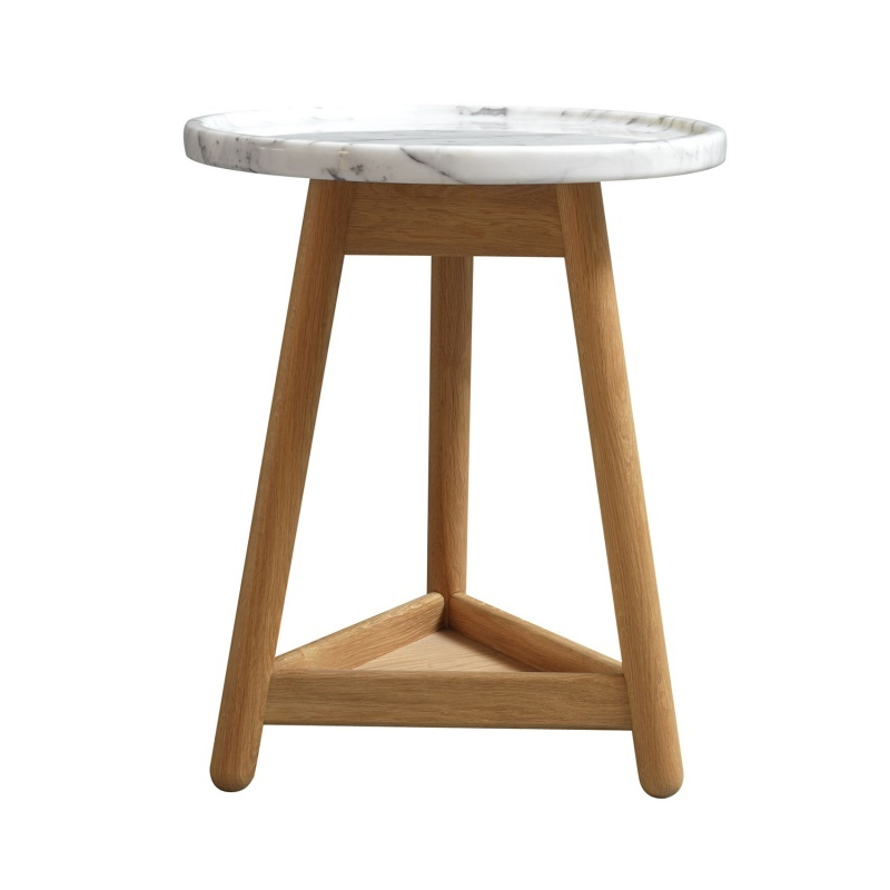 Carve Side Table, Oak Base & White Marble Top by Bethan Gray
