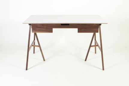 Plan Desk White Top, Walnut Drawers