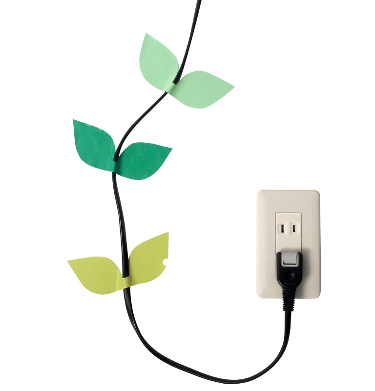 Leaf cable sticker 412 spring green by masako sato for Cache cable mural
