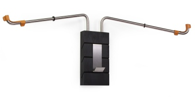 "Coat hook / bicycle holder - ""SQUARE"" Brown leather protectors"