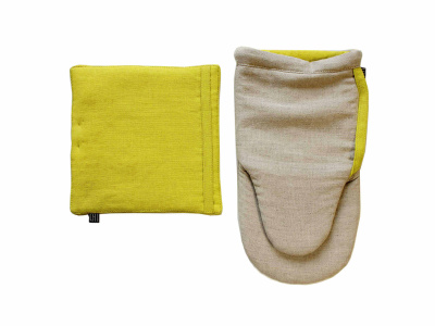 Linen pot holder Oven mitt Pot holder and oven mitt set