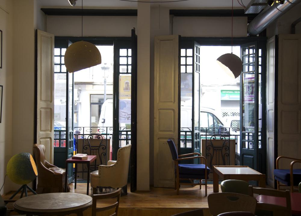 Globe lamp in Cafe Ubik in Valencia, Spain