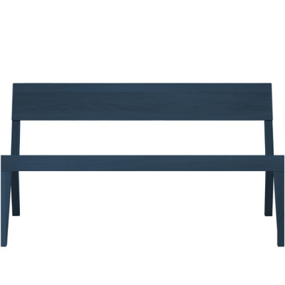 Cubo Bench With Wood Seat Oak, Petrol Blue