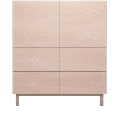 Square Cabinet 2 Doors & 4 Drawers Oak, Oak