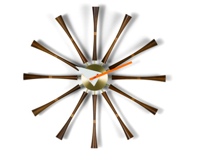 Spindle Clock aluminium/solid walnut