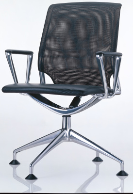 Meda Conference Chair with polished aluminium ring armrests, Seat and backrest leather L40, felt glides for hard floor