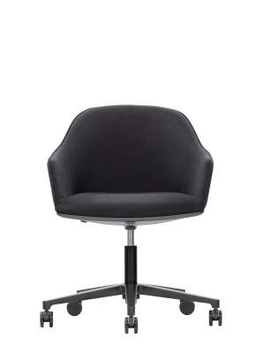 Softshell Chair Five-Star Base Leather L40, polished aluminium, castors soft braked for hard floor