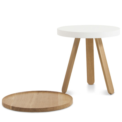 Batea S - Tray table Oak & White
