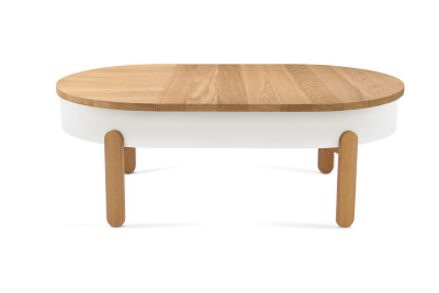 Batea L - Coffe table with storage Oak & White