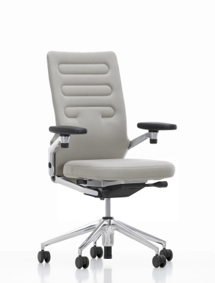 AC 4 Office Chair with leather-covered aluminium ring armrests, With Lumbar support, Leather L40, base polished aluminium