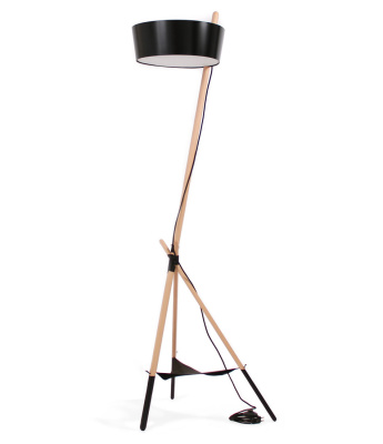 Ka XL Floor Lamp Black with leather tray